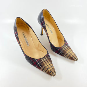 MANOLO BLAHNIK Plaid Pumps | 8.5 - Labels Luxury