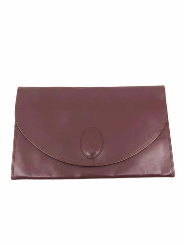 CARTIER Maroon Solid Clutch - Labels Luxury