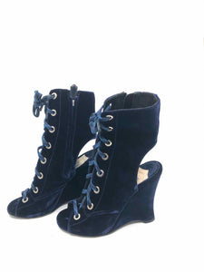 PRADA Blue Lace Up Ankle Boot | 8 - Labels Luxury
