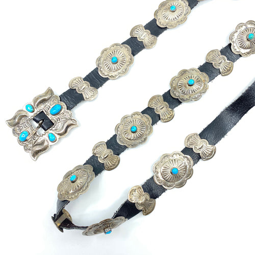 Navajo Turquoise + Sterling Leather Belt - Labels Luxury