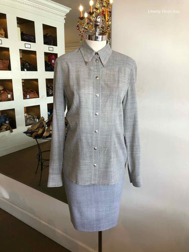 ESCADA Silver Button Up Skirt Suit | 4 - Labels Luxury