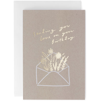 Old English Company Birthday Envelope Flowers Greeting Card