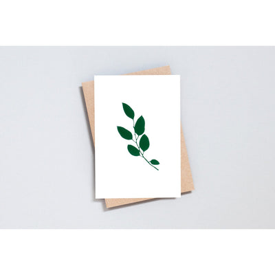 Ola Foil Blocked Eucalyptus Card Green on Ivory
