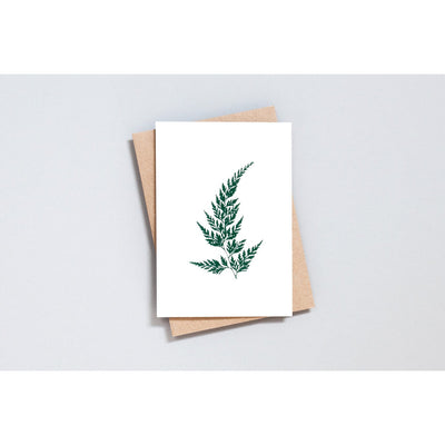 Ola Foil Blocked Wood Fern Card Green on Ivory