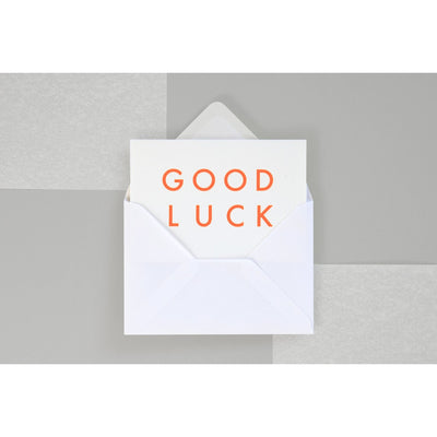 Ola Foil blocked Good Luck card Fluorescent Orange on White