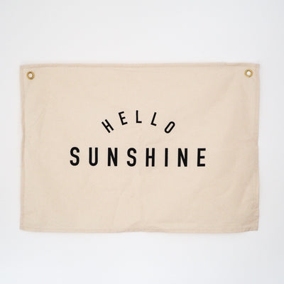 Kitty Makes Hello Sunshine Wall Flag