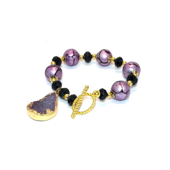 Bracelet. Glass purple Beads, Black crystals Gold tone toggle clasp. glass beads and druzy, drusy Gemstones charm, Hand Made in USA