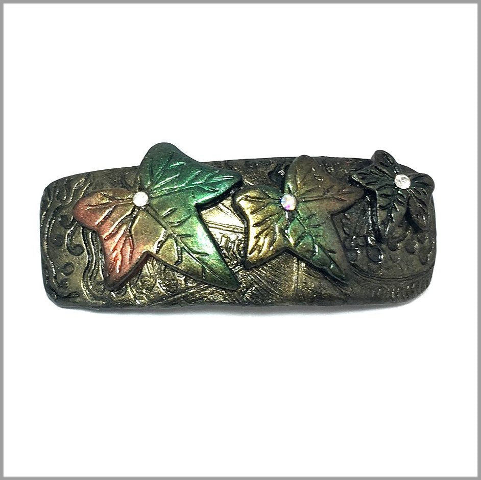 Handmade Barrette.  Hair Clip, Ivy leaves design. Extra Large Handmade Polymer Clay Wearable Art perfect for long hair