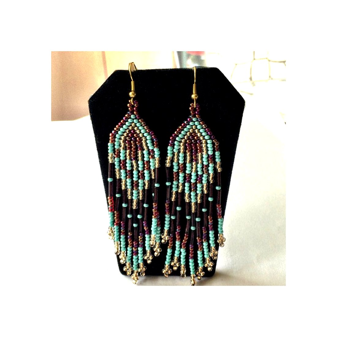 ON SALE Fringe Earrings. Long Indian Style beaded earring. Native American Beaded Earrings.  Hand Made in USA.