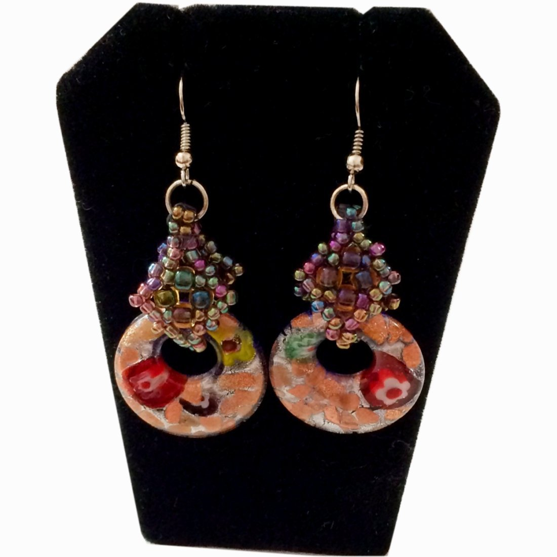 Handmade earrings. Millefiori Glass earrings with hand made beaded bail. Gorgeous glass work, Millefiori Glass EARRINGS with hand made