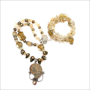 Necklace with Gorgeous Ammonite. Handmade jewelry with Citrine gemstone and Sterling silver Pendant. fresh water Pearls