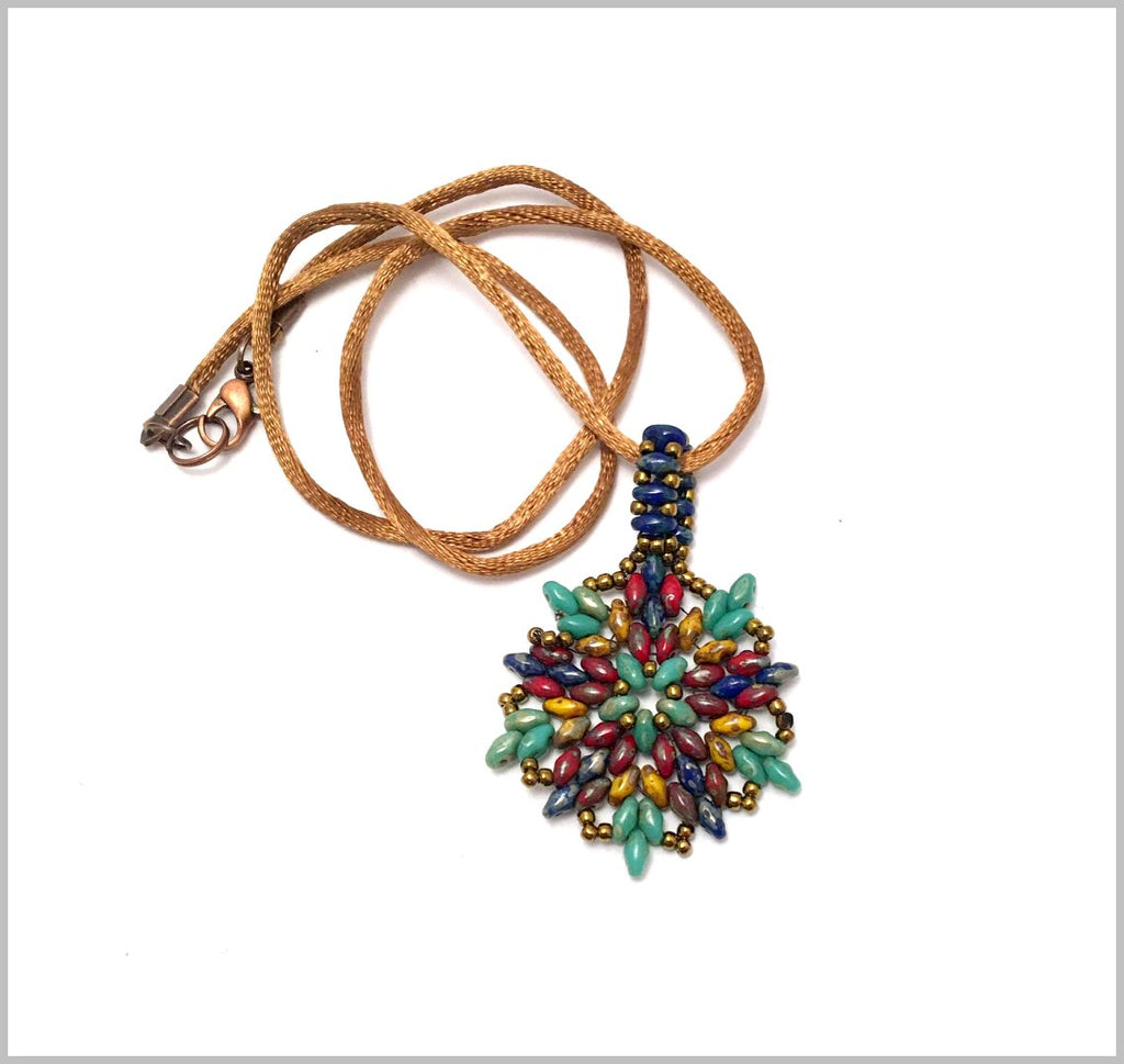 Hand made beaded necklace. Beautiful colorful bead work necklace.