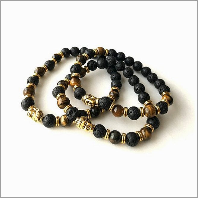 Bracelet. Gemstone Buddha head Bracelet. Genuine Tiger eye gemstone bead bracelet. Birthday gift. Boy Friend gift bracelet Handmade in USA.