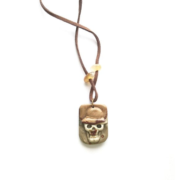 For him Necklace  Jewelry Unisex necklace hand carved Gemstone. Return from Death. Great gift for him. One of a kind