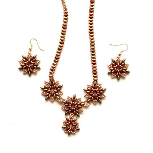 Beautiful handmade set of Necklace and Earrings. Bead work Necklace super due and seed beads