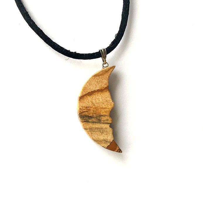 Necklace. For him Jewelry Picture jasper Pendant Gemstone hand carved Pendant. Half Moon Jasper- Picture jasper unisex pendant One of a kind for Necklace for him