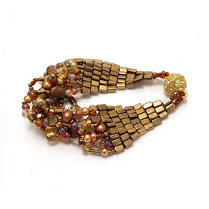 Handmade beaded Bracelets for Women. Purple Bracelet and Bronze with shade of gold and copper