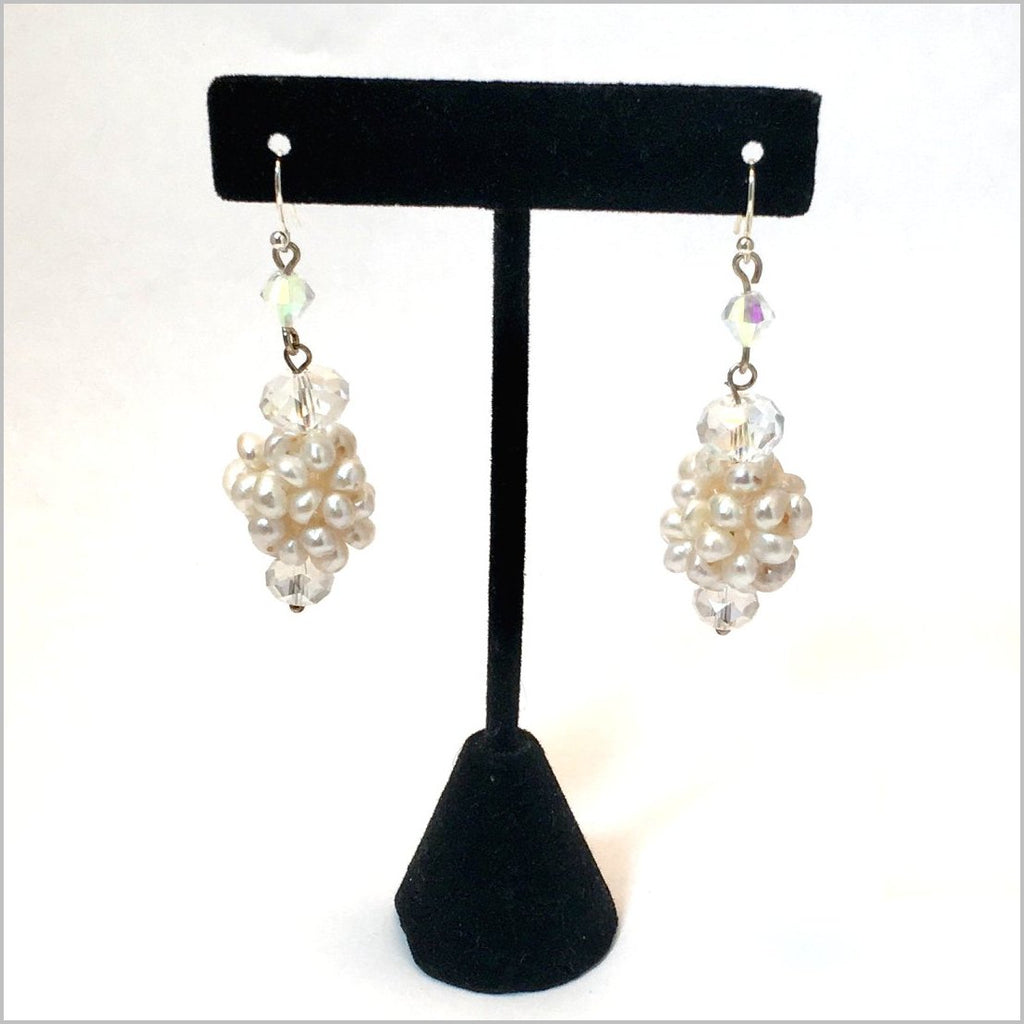Earrings. Upscale designer earrings. Freshwater pearls and sparkling crystals. Bridal party jewelry. Hand Made in USA.