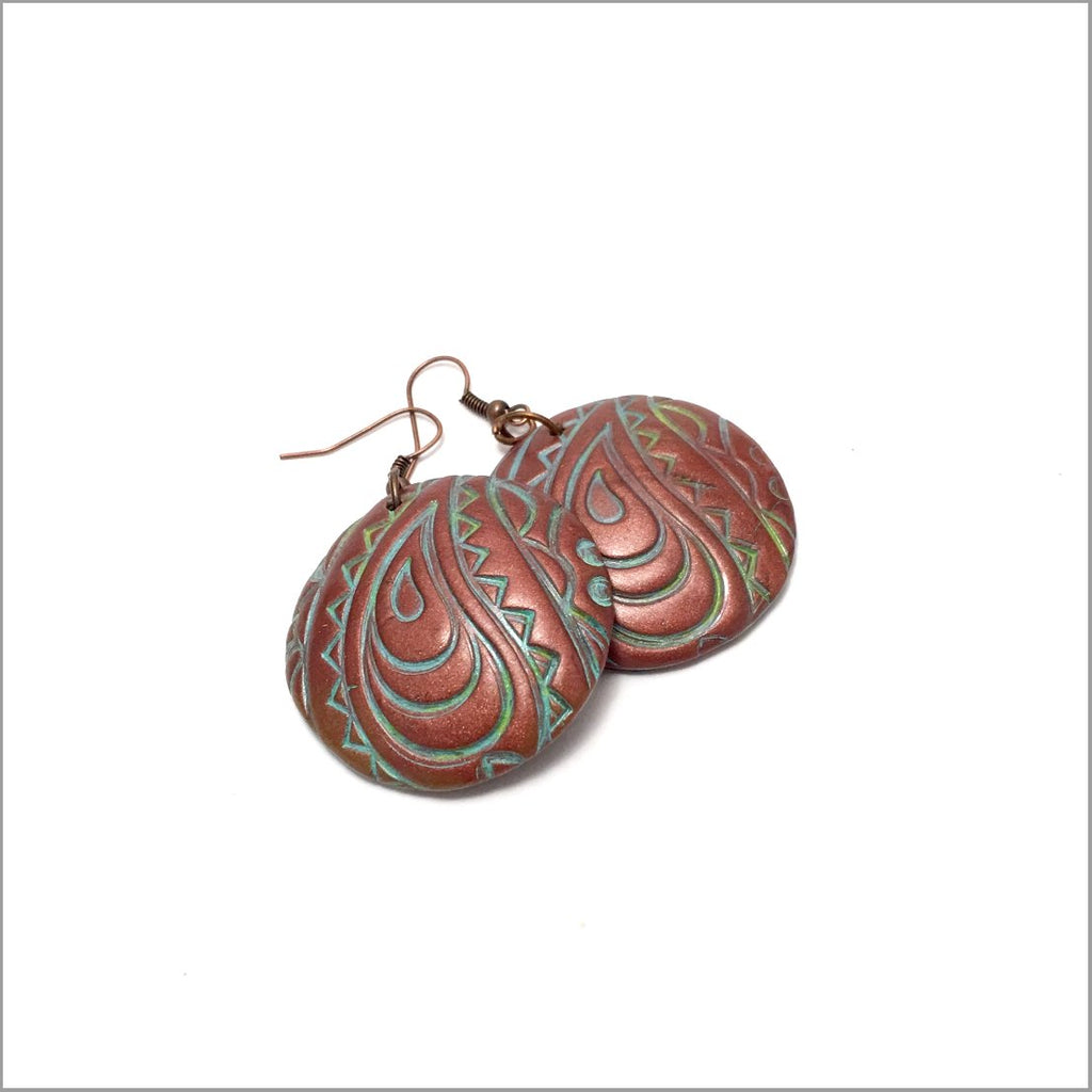 Paisley Earrings. polymer clay, Coppertone earrings. These handmade earrings were crafted from polymer clay. Dangle earrings