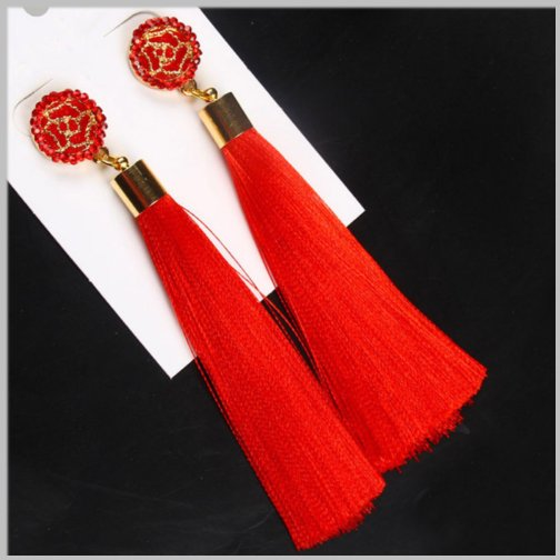 Long Tassel Earrings, Long silk earrings Cobalt Blue, Red and Black.