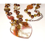 Necklace Gemstones Volcano Necklace Uncommon beauty Czech glass beads Fresh water pearls Copper chain Heart shape pendant Unique hand Made