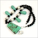 Turquoise Necklace Genuine TURQUOISE sterling silver necklace Handmade One of a kind - Gorgeous gemstones and Crystals Necklace Wonderful gift For her