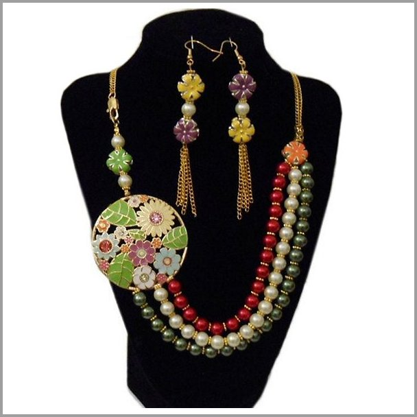 Jewelry set artisan necklace and earrings.  NECKLACE and Earrings - Incredible designer jewelry festive colorful classic heirloom