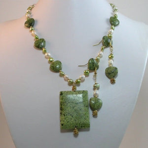 Necklace & Earrings Set. Have your Green Hearts - Necklace of green Russian serpentine Gemstones. Simple,Classic and Always in style jewelry set.