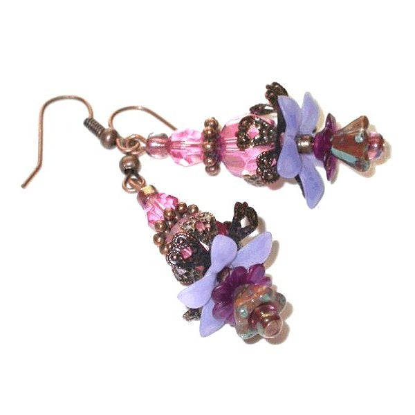 Flower Earrings. Handmade Multi-Colored Czech Bead Dangle Earrings Beautiful hand made pair earrings Dangle earrings always in style design