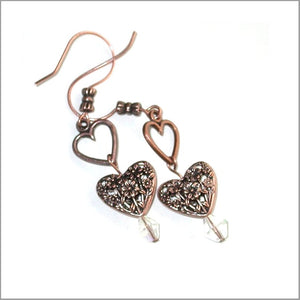 Love Hearts Earrings. Flower filigree heart. Long hearts Earrings - Copper and crystal Earrings. Long dazzling hearts earrings