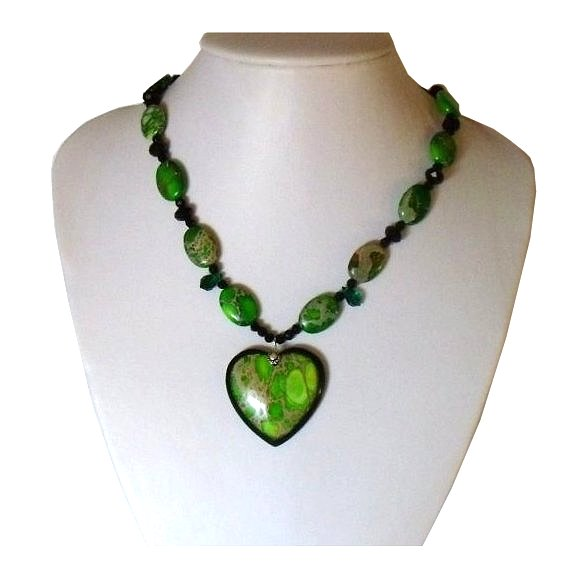 Gemstone Jewelry Set. Heart Pendant Necklace - Green/Black Stone Intarsia Sea Sediment Jasper