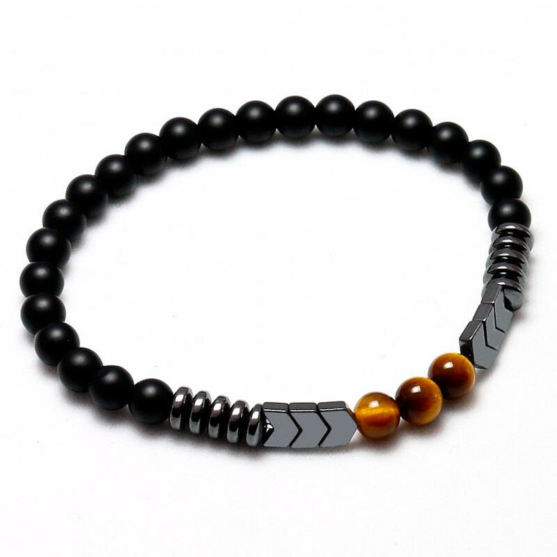 Gemstone Bracelet Bracelet. Genuine Tiger eye and Natural Onyx bracelet. Boy Friend gift