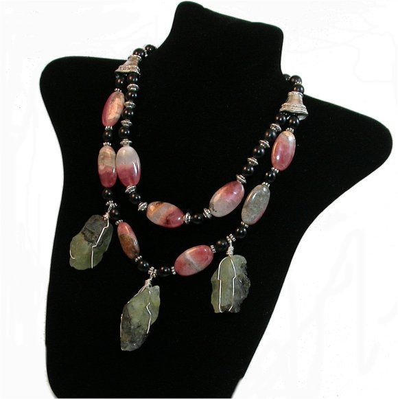 Necklace Hand Made Celebrity Necklace. Natural Rhodochrosite oval beads and Rough natural pale green quartz necklace. wonderful gemstones Necklace