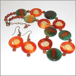 Necklace and Earrings Handmade with multi color Brazilian Agates gemstone, Golden Stone, Chalcedony, multi color AGATES