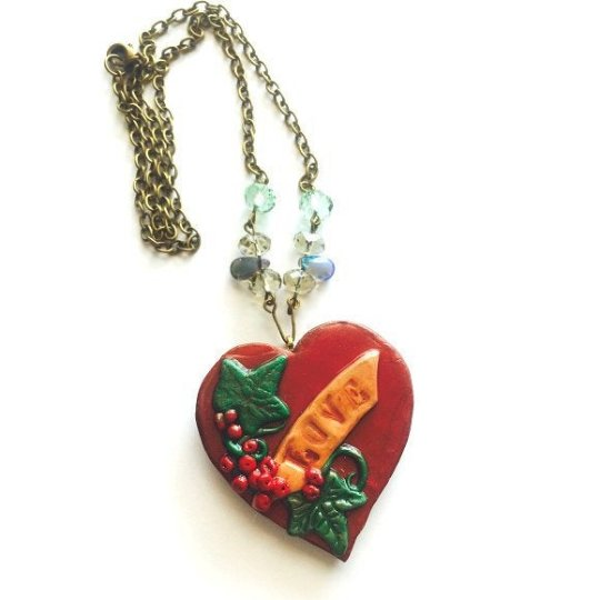 Necklace handmade Heart Pendant. Polymer Clay Pendant, polymer clay jewelry vine. Crystal Chain enhanced Heart Pendant Necklace