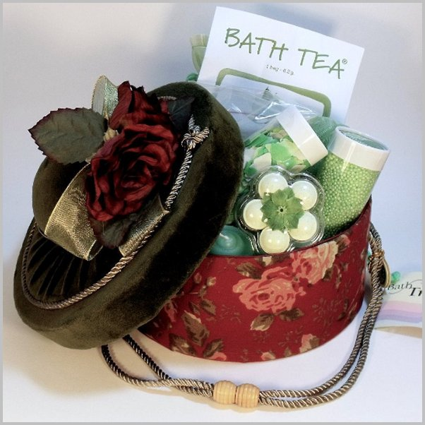 Pampering spa Gift. Spa gift basket Indulgence luxurious Spa in hand made hat box. ultimate bath and body care gift