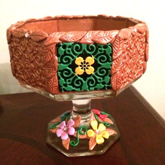 Hand made Bowl - Polymer Clay LARGE candy dish made with polymer clay. made in USA