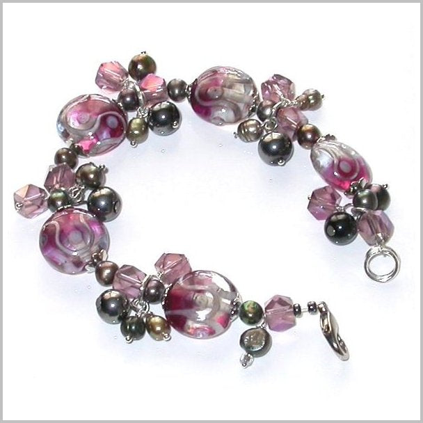 BRACELET. Hand-Made One of a kind Bracelet. Lamp work beads, Fresh water pearls and Crystal beads.