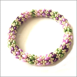 Bracelet Beadwoven Bangle. Supper Duo beaded bangles. Gold Toho seed beads.beaded bangle, many color combinations and sizes,