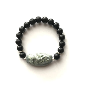 Bracelet. Gemstone Hand Made Bracelet. Genuine black onyx gemstone bead, with Polymer Clay hand made focal point. Boy Friend gift bracelet