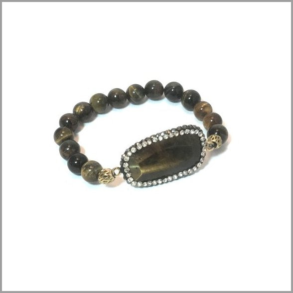 Natural Tigers Eye Bracelet, unique hand made stretchy bracelet with Tiger Eyes Gemstones
