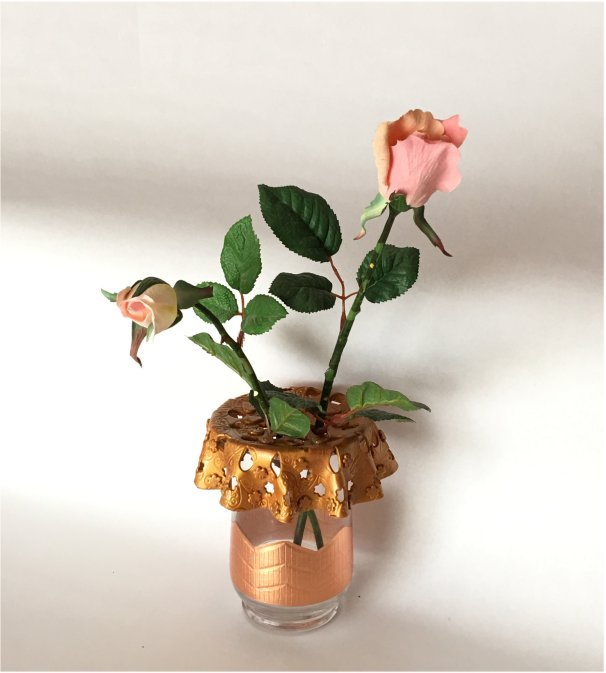 Vase with unique top. Hand made with polymer clay for your floral arrangements Handmade home decor vase. This Unique Vase makes great gift
