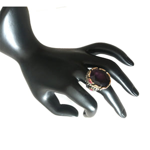 Ring. Statement Ring. Gold and Sterling silver ring. Amethyst, Sapphire, Emeralds and red Ruby. Amethyst, Emerald, Ruby White Sapphire Ring