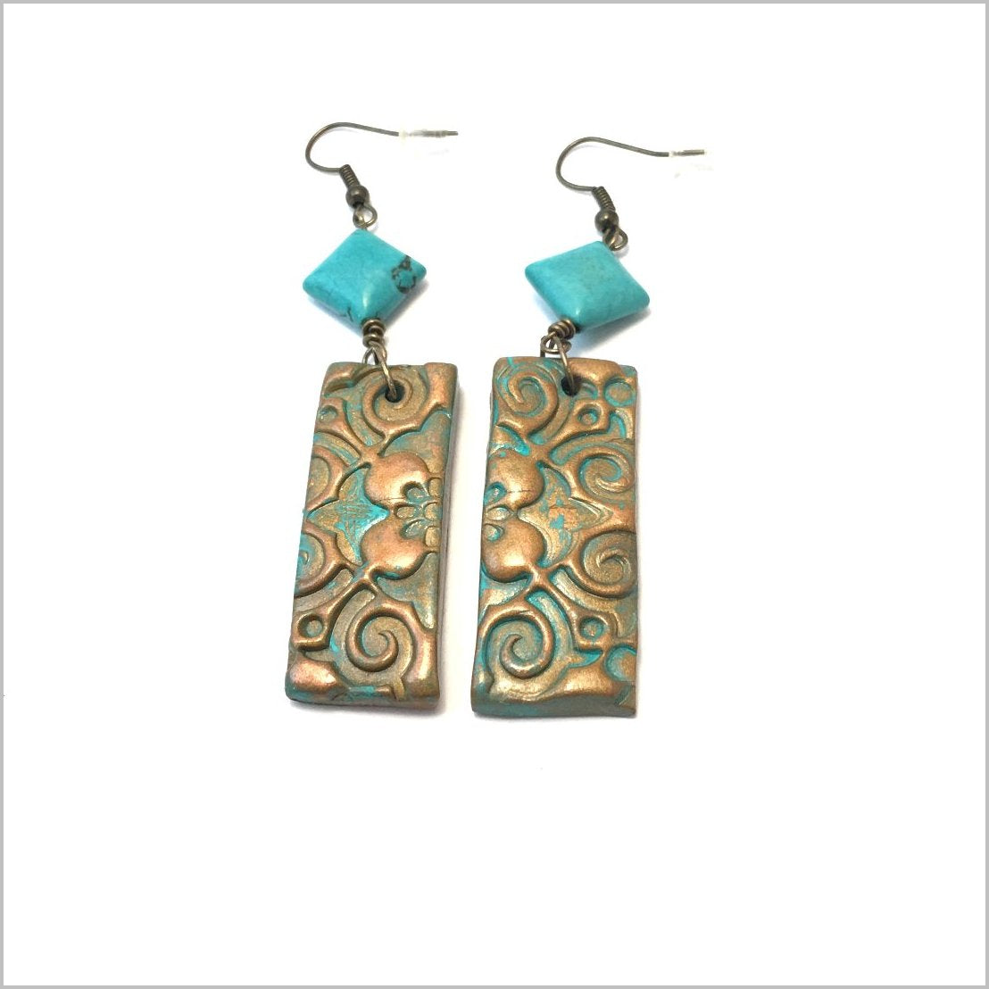 Earrings. Handmade Mix media  Polymer Clay Earrings with turquoise beads. Beautiful hand made pair earrings. Dangle earrings always in style design