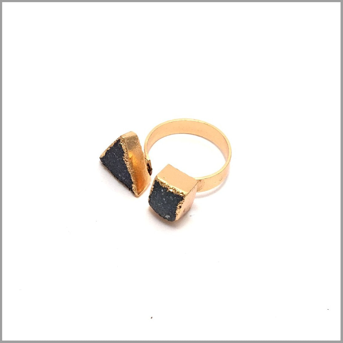 Real Druzi Ring. Hand made Drusy Ring. Trendy cocktail ring. gold-plated brass with a matte finish will not tarnish
