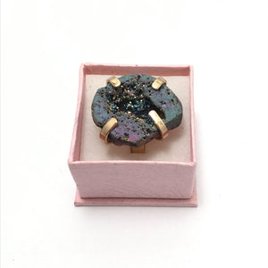 Large Statement Ring. Real Druzi Ring. Hand made Drusy Ring. Elegant cocktail ring.