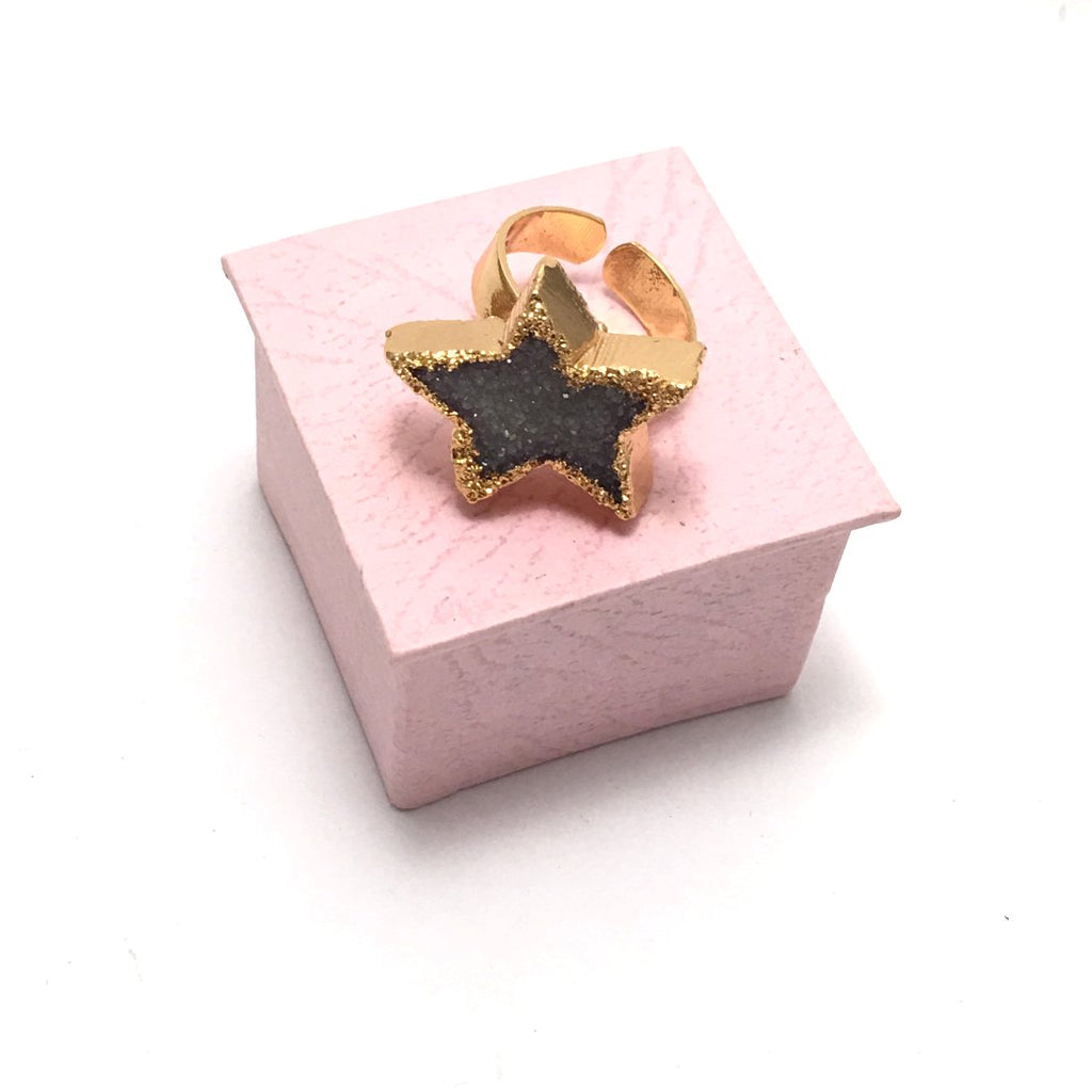 Star Ring. Real Druzi Ring. Hand made Drusy Ring. trendy cocktail ring.