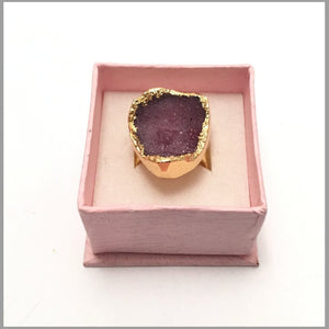 Statement Ring. Real Druzi Amethyst Ring. Hand made Drusy Amethyst Ring