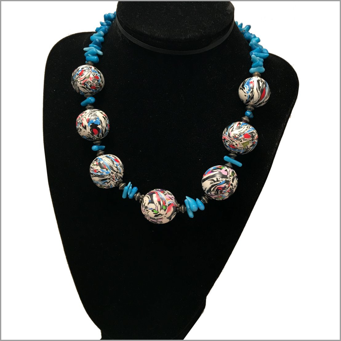 Necklace and Earrings set. Hand made polymer clay beads with Natural Ocean Corals.