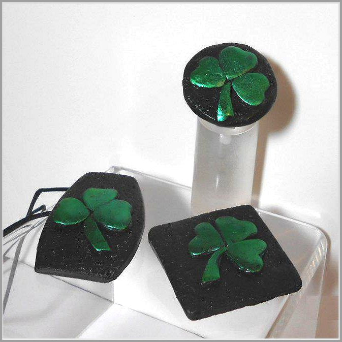 Lucky Clover Jewelry. hand made polymer clay necklace and ring. Perfect for St. Patrick's Day